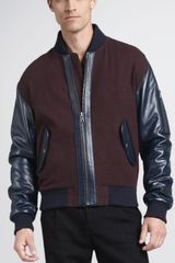 McQ by Alexander McQueen Leather-trim Varsity Jacket - Lyst