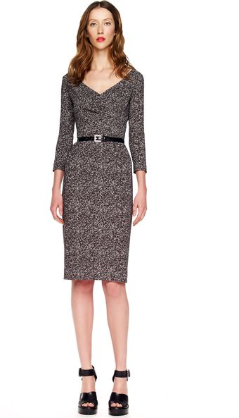 Michael Kors Tweed Herringbone Printed Cady Dress - Lyst