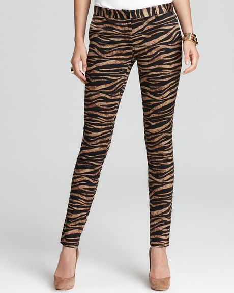 Michael Kors Michael Zebra Skinny Pants in Animal (dark camel)