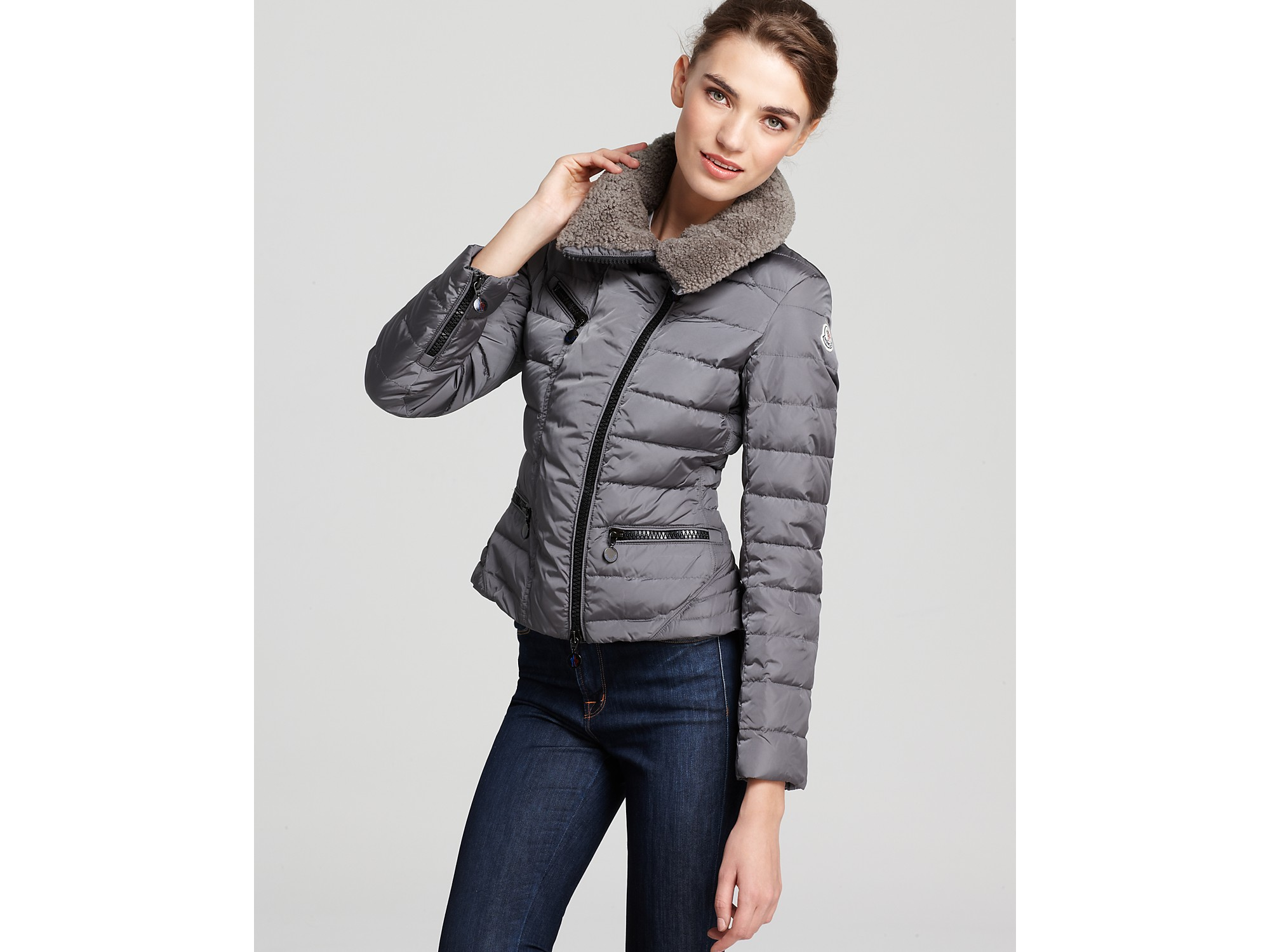 ef283b5d2 Lyst - Moncler Frene Short Asymmetrical Zip Down Jacket with ...