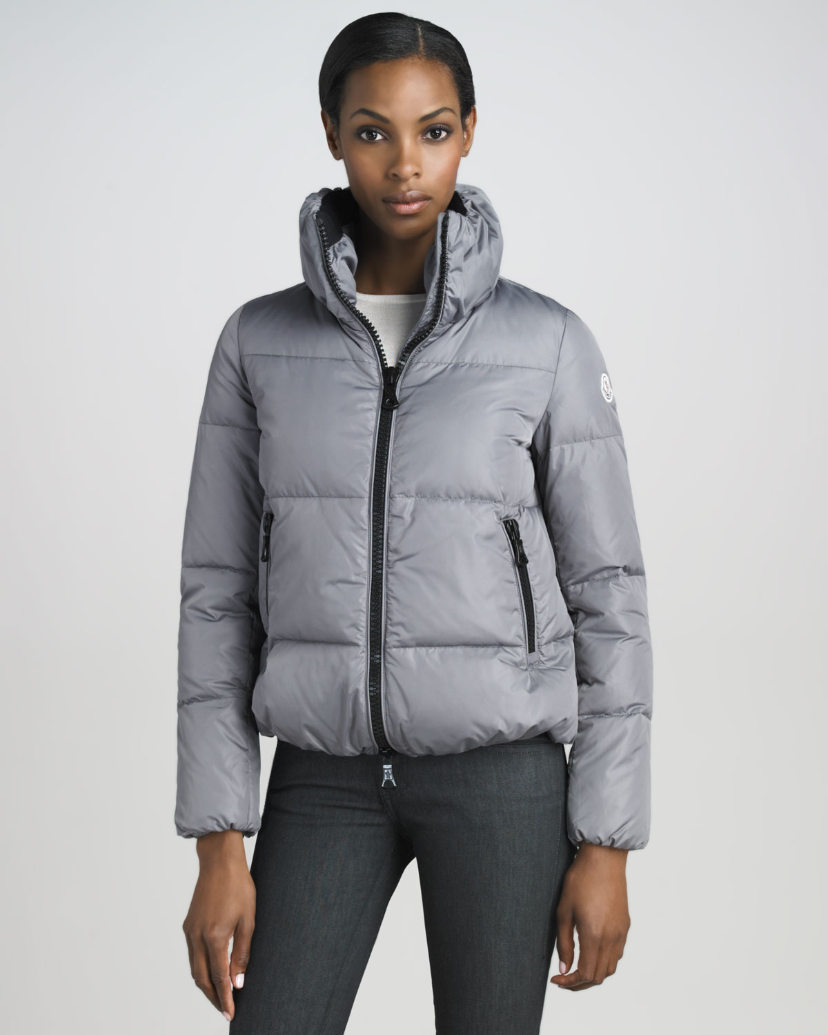 Moncler Short Blouson Puffer Jacket in Gray | Lyst