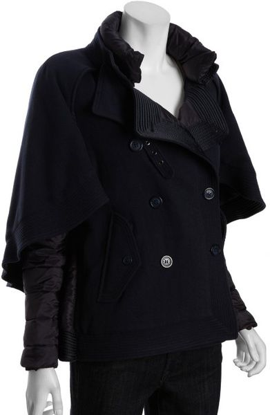 Moncler Navy Wool Blend Double Breasted Cape Coat in Blue (navy) - Lyst