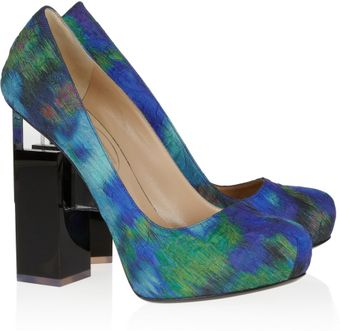 Nicholas Kirkwood Geometricheel Printed Silkcovered Leather Pumps - Lyst