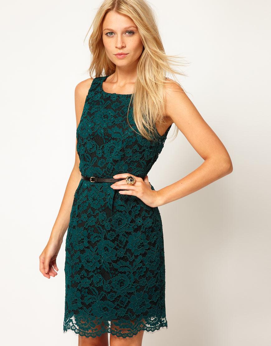 Oasis Lace Lantern Dress in Green   Lyst