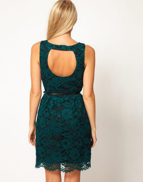Oasis Lace Lantern Dress In Green Lyst