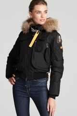 Parajumpers Gobi Down Bomber Jacket with Fur Hood - Lyst