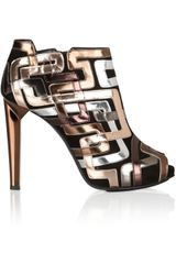 Pierre Hardy Metallic Leatherpatterned Suede Ankle Boots in Gold (copper) - Lyst