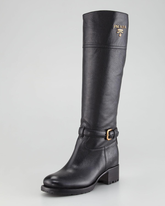 prada logo flat boot nero in black lyst