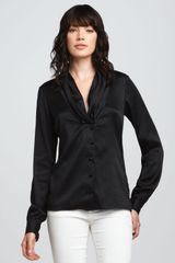Rachel Zoe Eleanor Shawl collar Top Black in Black - Lyst