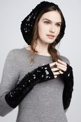Rachel Zoe Sequined Finger Less Gloves