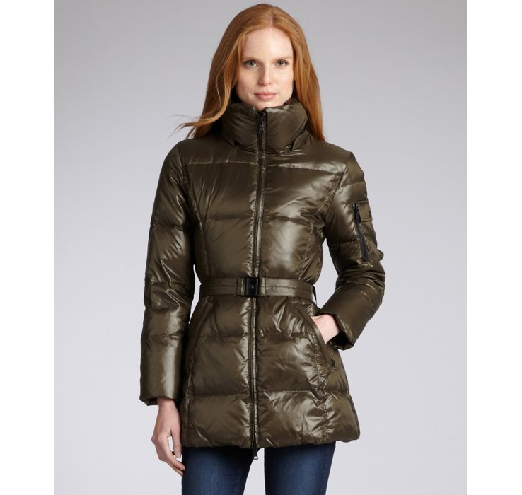 Sam Military Nylon Belted Goose Down Puffer Coat In