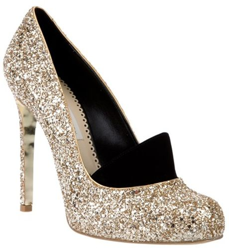 Stella Mccartney Glitter Pump in Silver (gold) - Lyst