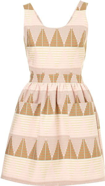 Topshop Pastel Texture Pinafore Dress - Lyst