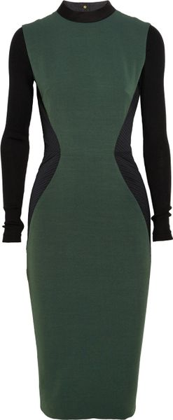 Victoria Beckham Twotone Ribpaneled Silk and Woolblend Dress in Green - Lyst