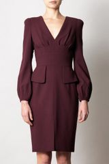 Alexander Mcqueen Peplum Detail Dress in Red (burgundy) - Lyst