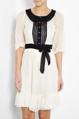 Alice By Temperley Meadow Contrast Collar Silk Dress