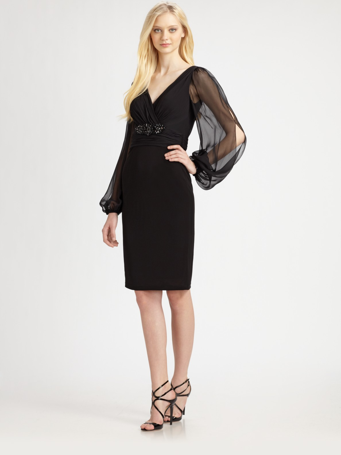 Chiffon sleeved cocktail dress