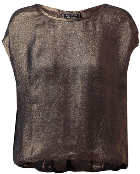 Lanvin Draped Gold Lamé Top in Gold - Lyst