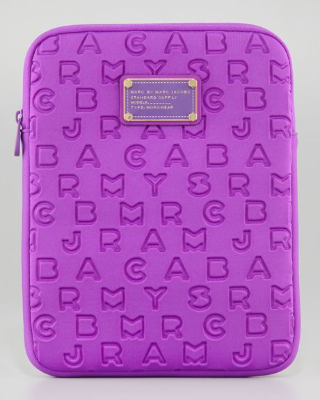 Marc By Marc Jacobs Dreamy Logo Neoprene Tablet Case in Purple (fluoro lime) - Lyst