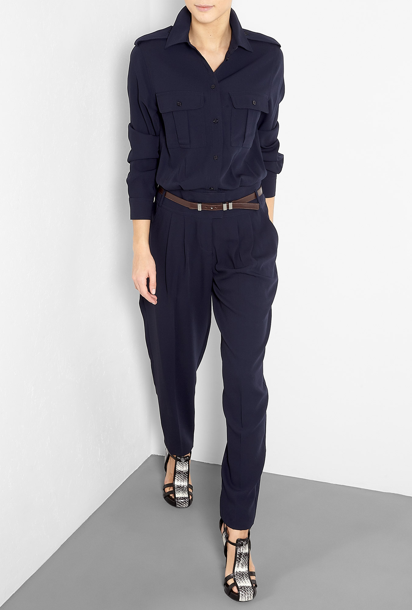 michael michael kors long sleeve pocketed navy jumpsuit in blue navy lyst. Black Bedroom Furniture Sets. Home Design Ideas