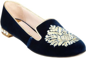 Miu Miu Velvet Embroidered Slipon - Lyst