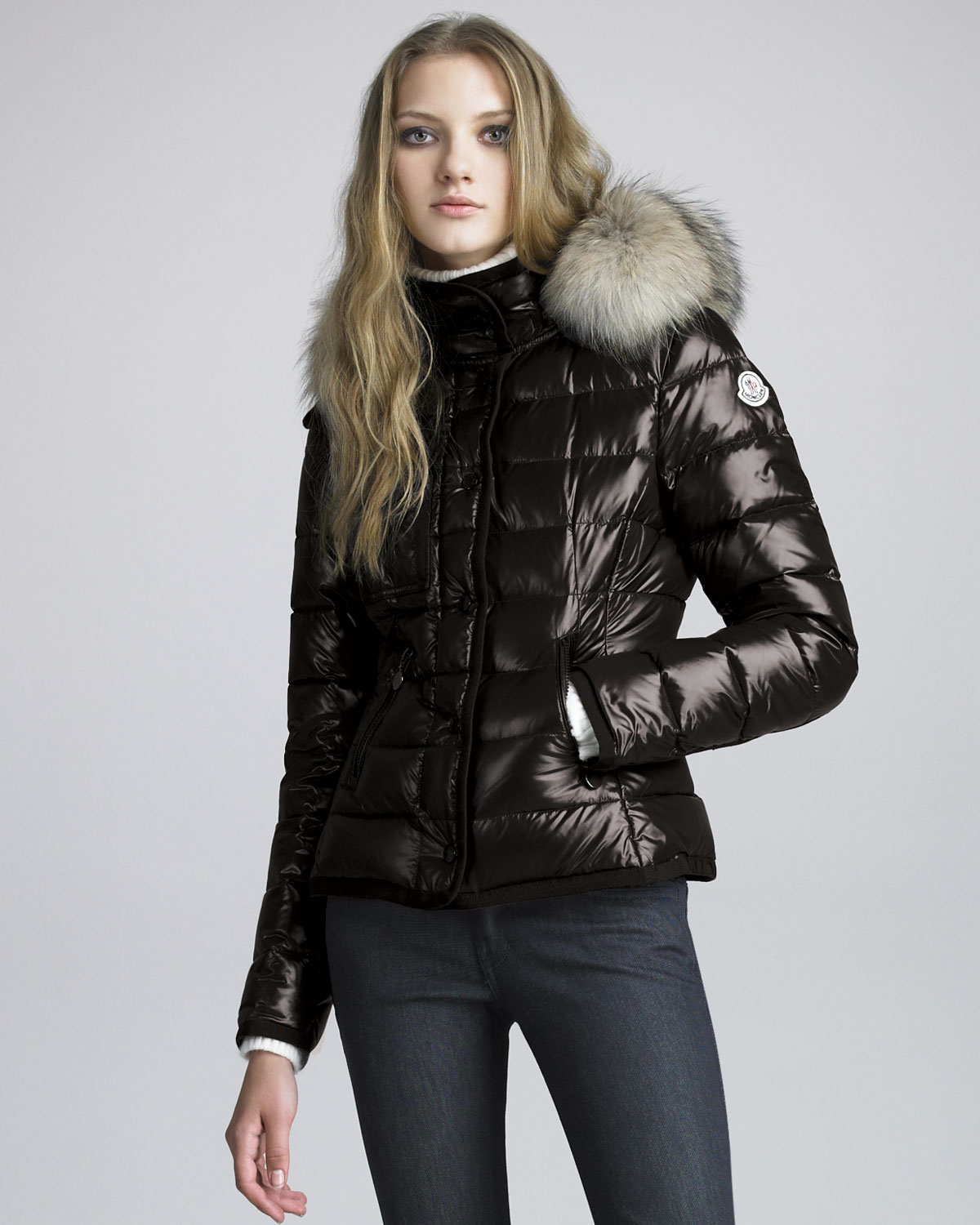moncler short coyotetrim lacquered puffer coat in black lyst. Black Bedroom Furniture Sets. Home Design Ideas
