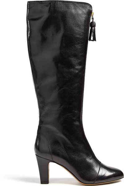 moschino cheap chic zip front leather knee high boot in
