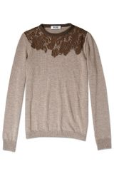 Moschino Cheap & Chic Lace Insert Wool Knit in Gray - Lyst