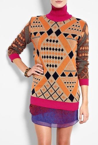 Mw Matthew Williamson Roll Neck Cashmere Intarsia Knit - Lyst
