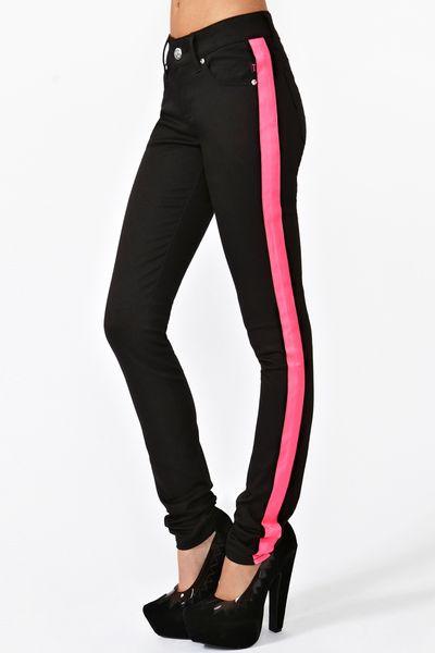 Nasty Gal Neon Streak Skinny Jeans in Black