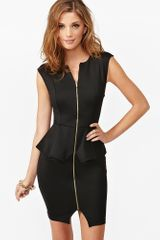 Nasty Gal Zipped Peplum Dress - Lyst