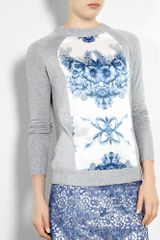 Preen Kitten China Print Silk Front Jumper in Blue (grey) - Lyst