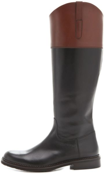 Studio Pollini Flat Two Tone Riding Boots In Black Lyst