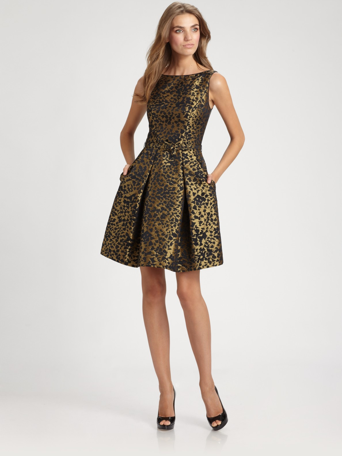 Theia Brocade Dress In Metallic Lyst