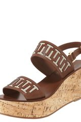 Tory Burch Regan Cork Wedge Sandal - Lyst