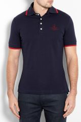 Vivienne Westwood Navy Red Tipped Polo Shirt in Blue for Men (navy) - Lyst