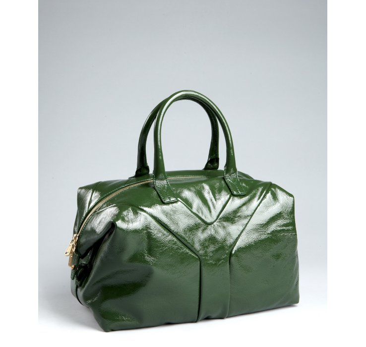 Saint laurent Green Patent Leather Easy Bag in Green | Lyst