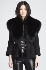 Alice + Olivia Kyah Faux-fur-collar Coat - Lyst