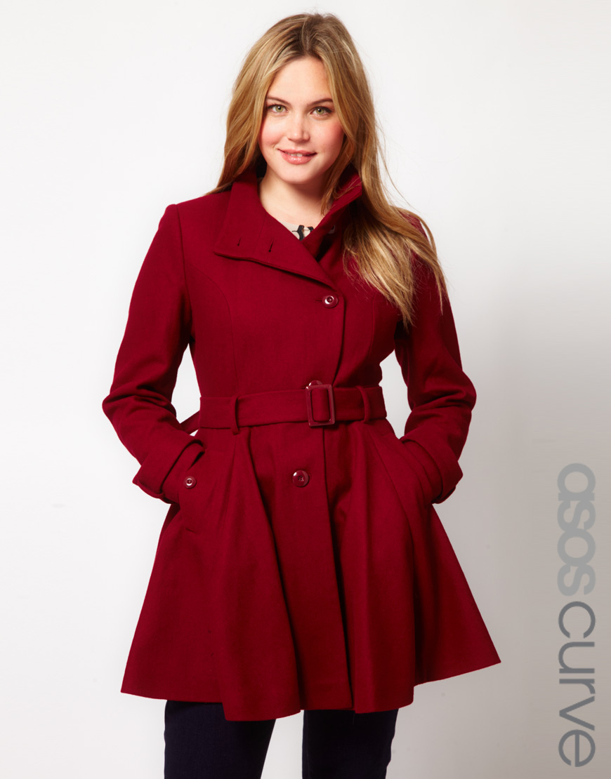 Asos Fit and Flare Coat in Red