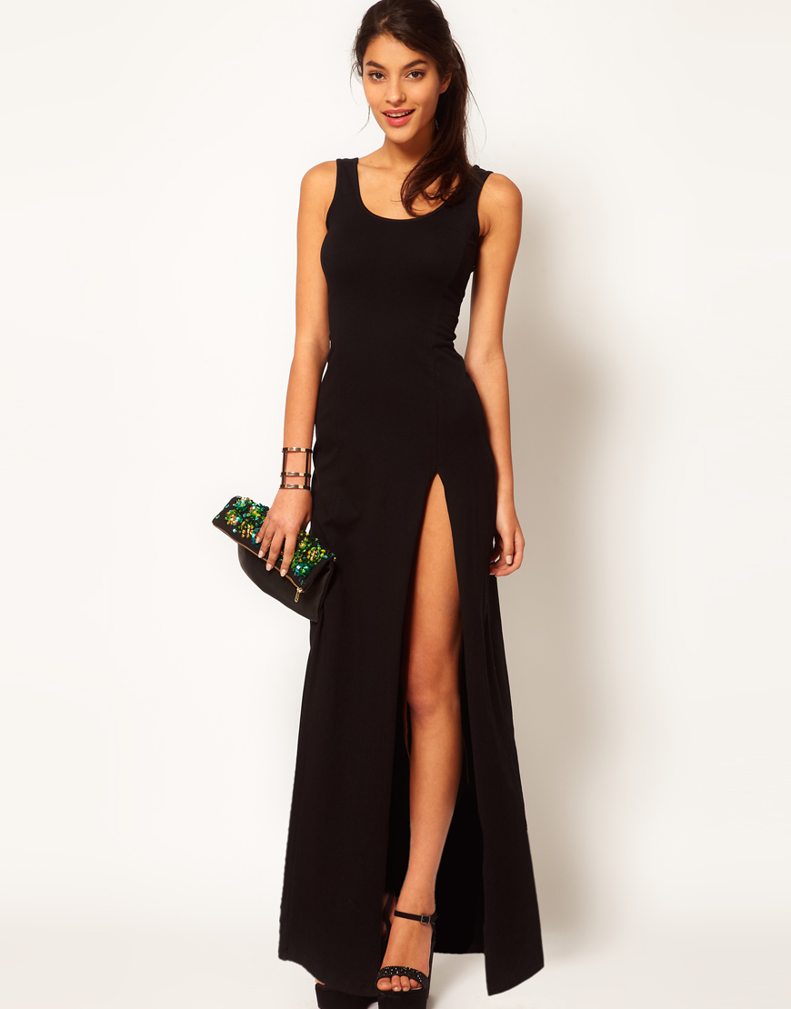 Lyst Asos Maxi Dress With Scoop Back And Thigh Split In