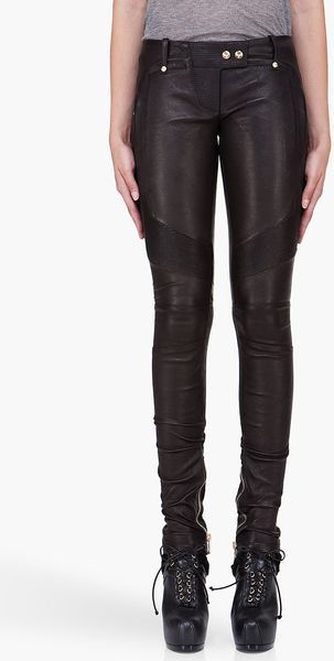 Balmain Black Leather Biker Leggings - Lyst