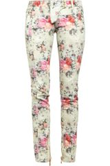 Balmain Printed Midrise Skinny Jeans in White (multicolored) - Lyst