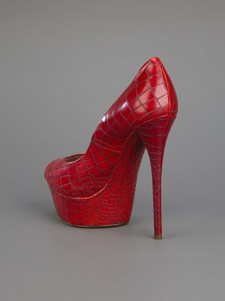 Casadei Platform Pump in Red - Lyst