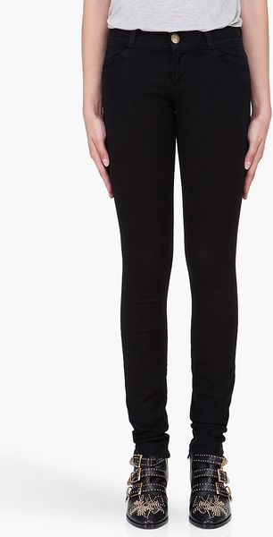 Current/Elliott Black Low Rise Stretch Jeans - Lyst