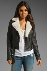 Current/Elliott The Shearling Leather Biker Jacket - Lyst