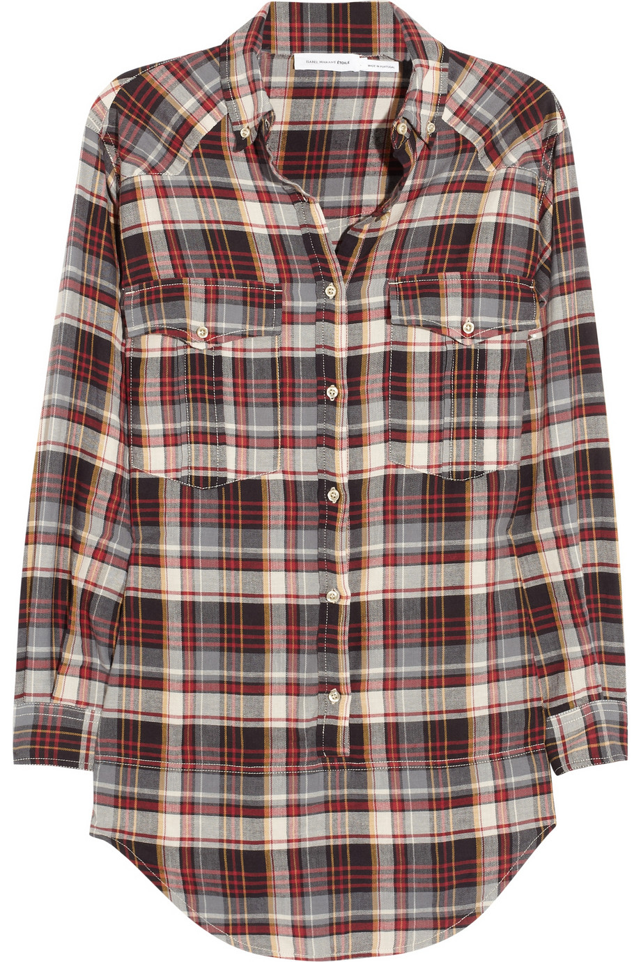 etoile isabel marant madoc oversized cotton plaid shirt in. Black Bedroom Furniture Sets. Home Design Ideas