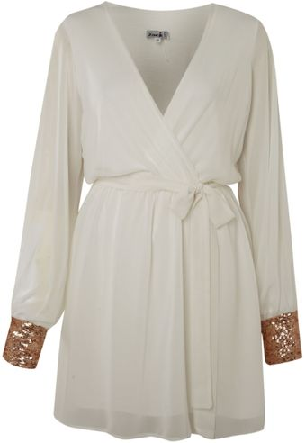 John Zack Long Sleeve Wrap Dress with Cuff - Lyst
