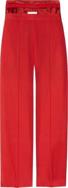 Maison Martin Margiela Stepwaist Crepe Wideleg Pants in Red - Lyst