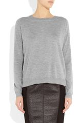 Mason By Michelle Mason Silk Backed Fine Knit Cashmere Top in Blue (grey) - Lyst