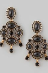 Oscar de la Renta Cabochon Drop Clip Earrings Black - Lyst